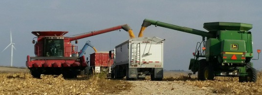 Farm equipment being used in Iowa